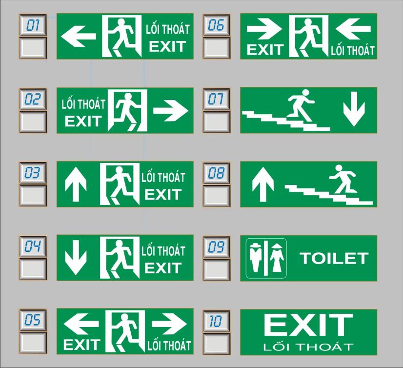 mãu nội dung của bảng exit lối thoát