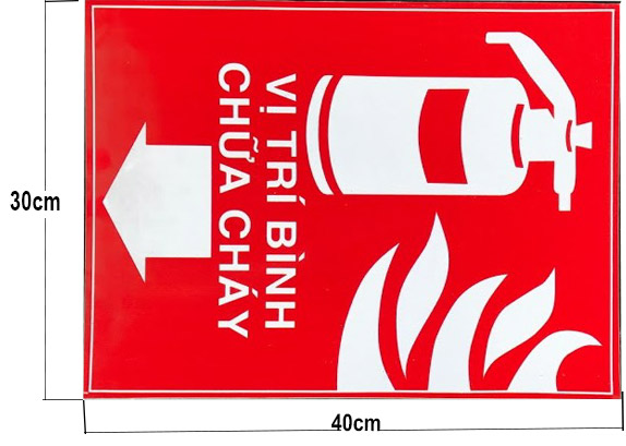 biển báo vị trí đặt bình chữa cháy bằng tấm foamex