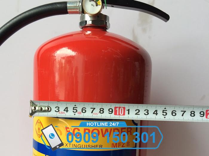 Đường kính bình chữa cháy bột ABC 8kg bao nhiêu?